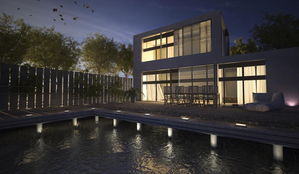 spots LED encastrables extérieurs terrasse piscine